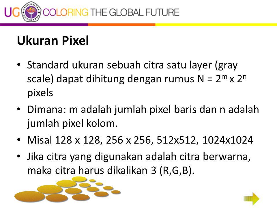 Ukuran Pixel Standard ukuran sebuah citra satu layer (gray scale) dapat dihitung dengan rumus N = 2m x 2n pixels.