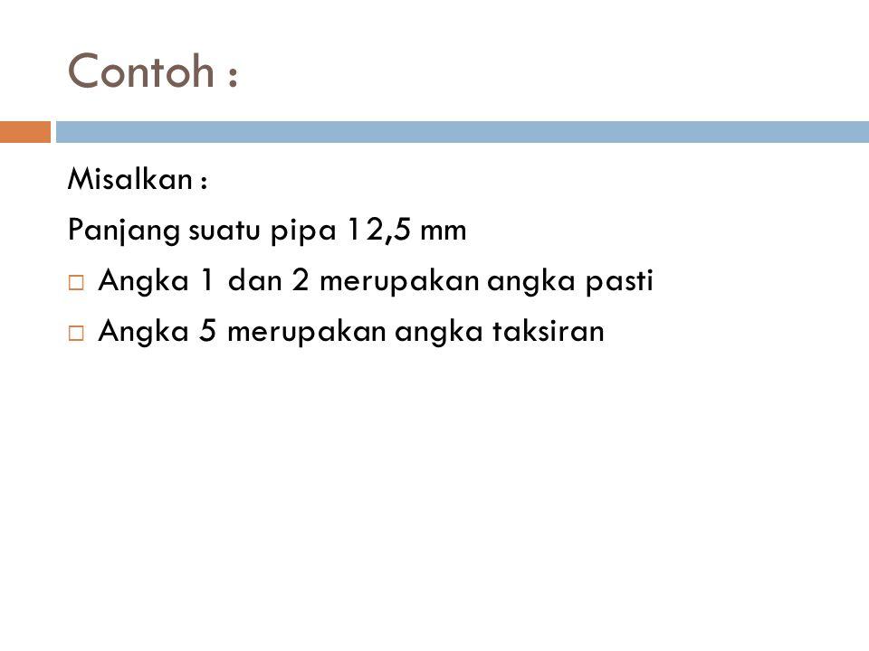 Contoh : Misalkan : Panjang suatu pipa 12,5 mm