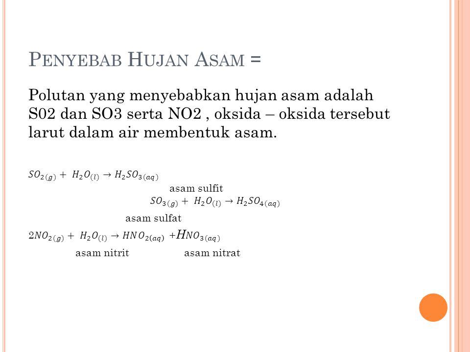 Penyebab Hujan Asam = Polutan yang menyebabkan hujan asam adalah S02 dan SO3 serta NO2 , oksida – oksida tersebut larut dalam air membentuk asam.