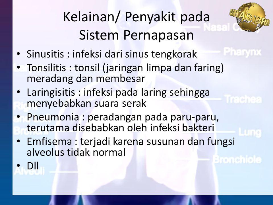 Kelainan/ Penyakit pada Sistem Pernapasan