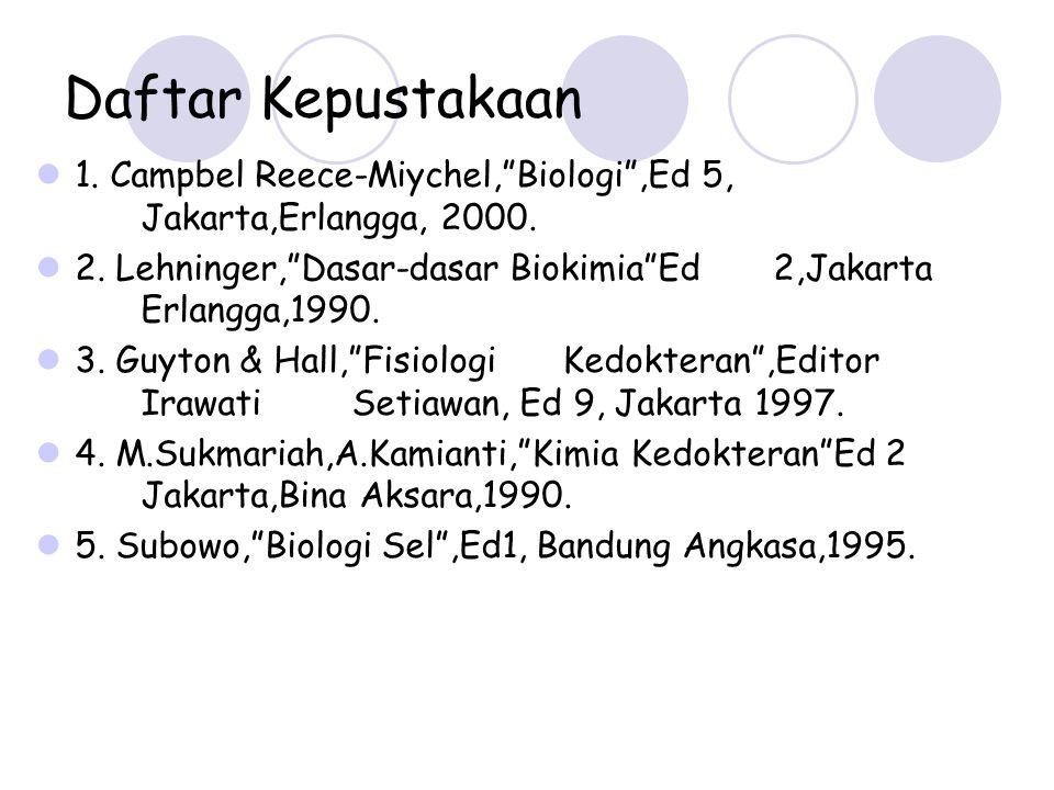 Daftar Kepustakaan 1. Campbel Reece-Miychel, Biologi ,Ed 5, Jakarta,Erlangga, 2000.
