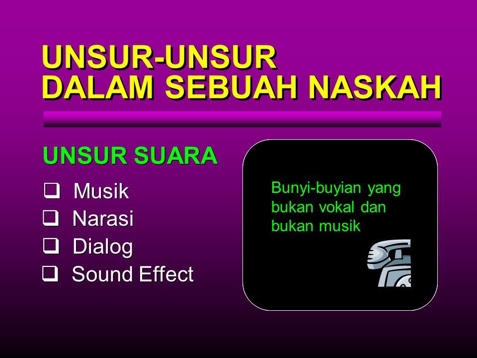 UNSUR-UNSUR DALAM SEBUAH NASKAH UNSUR SUARA Musik Narasi Dialog