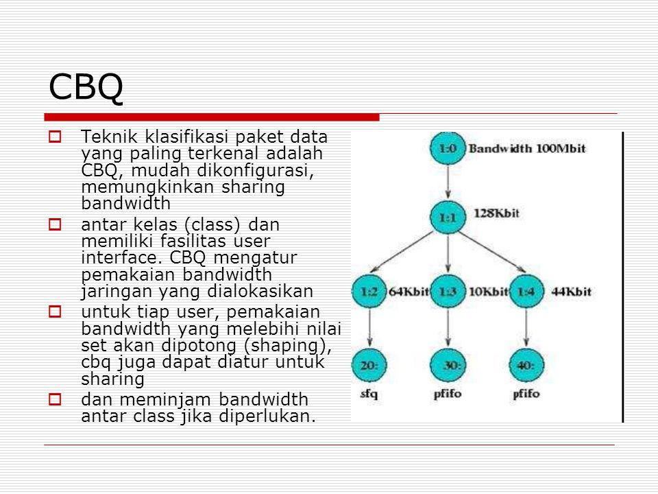 CBQ Teknik klasifikasi paket data yang paling terkenal adalah CBQ, mudah dikonfigurasi, memungkinkan sharing bandwidth.