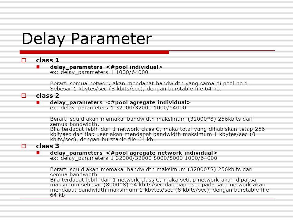 Delay Parameter class 1 class 2 class 3