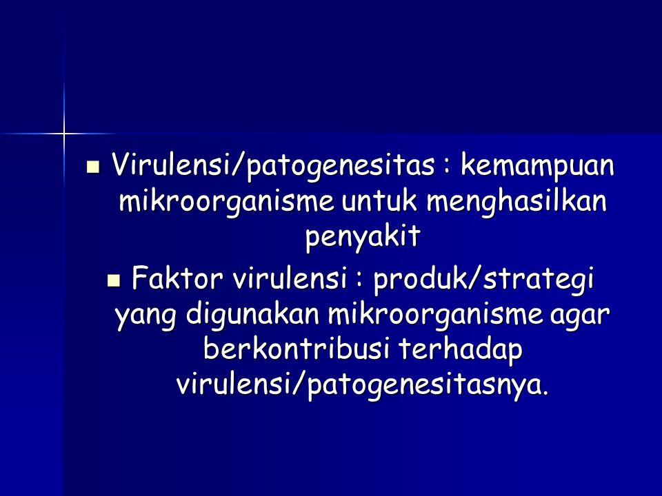 Virulensi/patogenesitas : kemampuan mikroorganisme untuk menghasilkan penyakit