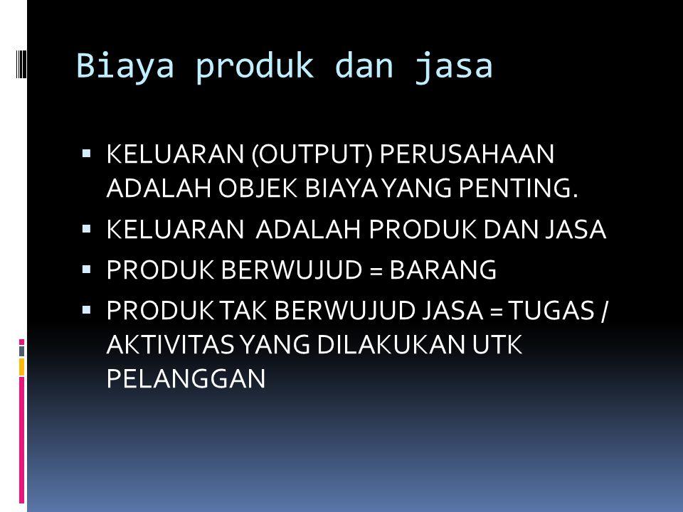 Biaya produk dan jasa KELUARAN (OUTPUT) PERUSAHAAN ADALAH OBJEK BIAYA YANG PENTING. KELUARAN ADALAH PRODUK DAN JASA.