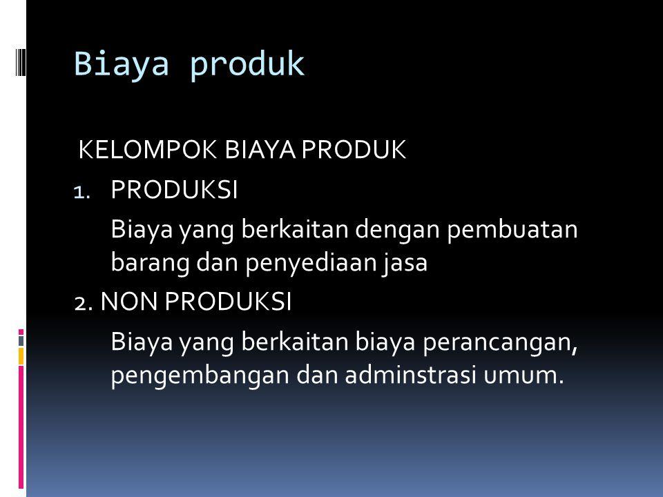 Biaya produk KELOMPOK BIAYA PRODUK PRODUKSI