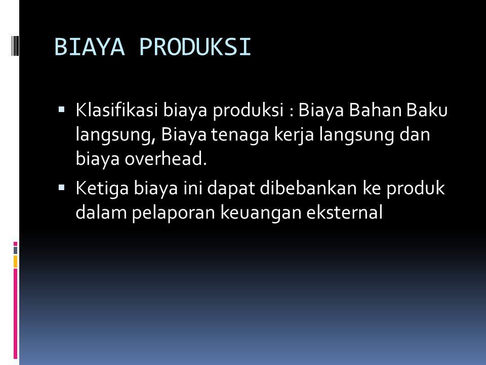 BIAYA PRODUKSI Klasifikasi biaya produksi : Biaya Bahan Baku langsung, Biaya tenaga kerja langsung dan biaya overhead.