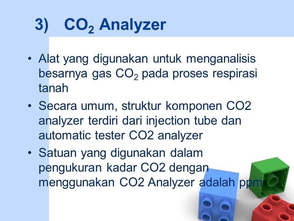3) CO2 Analyzer Alat yang digunakan untuk menganalisis besarnya gas CO2 pada proses respirasi tanah.
