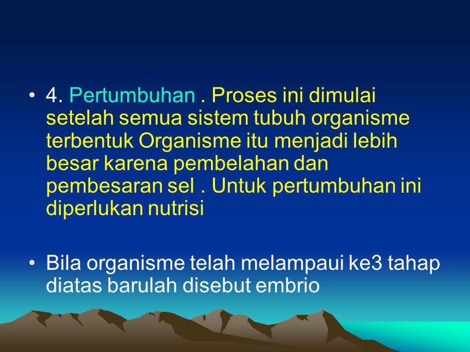 4. Pertumbuhan . Proses ini dimulai setelah semua sistem tubuh organisme terbentuk Organisme itu menjadi lebih besar karena pembelahan dan pembesaran sel . Untuk pertumbuhan ini diperlukan nutrisi