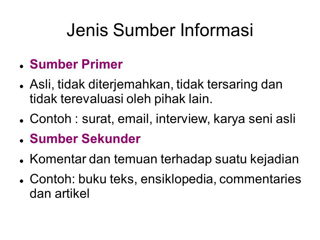 Jenis Sumber Informasi