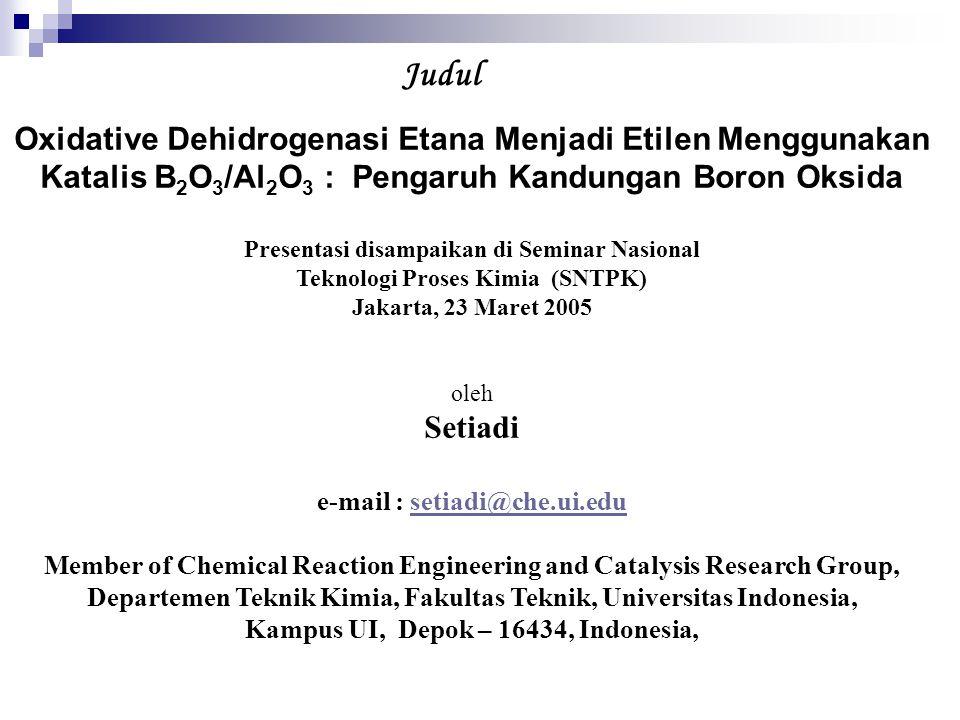Judul Oxidative Dehidrogenasi Etana Menjadi Etilen Menggunakan Katalis B2O3/Al2O3 : Pengaruh Kandungan Boron Oksida.