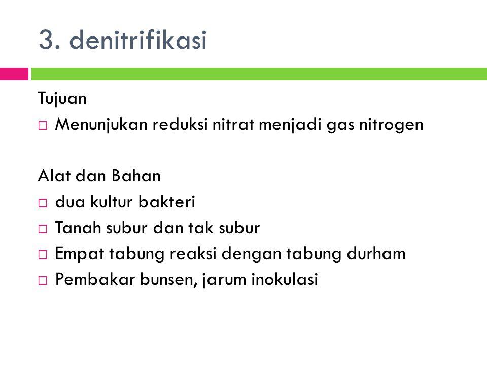 3. denitrifikasi Tujuan Menunjukan reduksi nitrat menjadi gas nitrogen