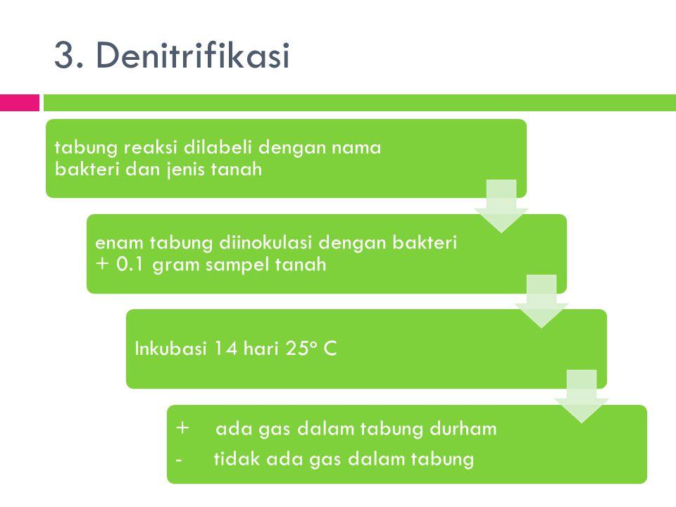 3. Denitrifikasi + ada gas dalam tabung durham