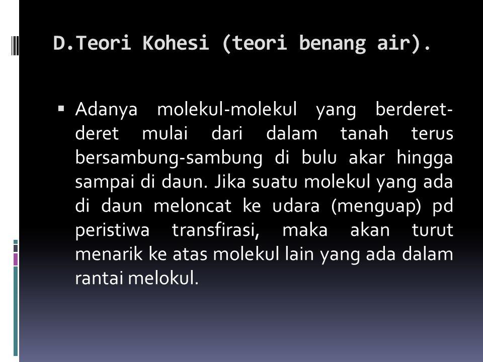D.Teori Kohesi (teori benang air).