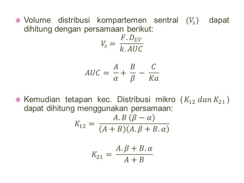 Volume distribusi kompartemen sentral ( 𝑉 𝑠 ) dapat dihitung dengan persamaan berikut: