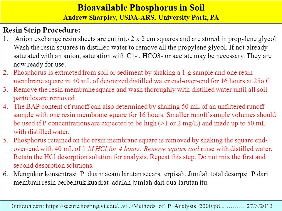 Bioavailable Phosphorus in Soil