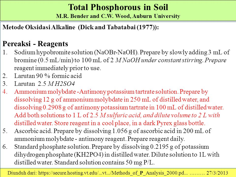 Total Phosphorous in Soil M.R. Bender and C.W. Wood, Auburn University