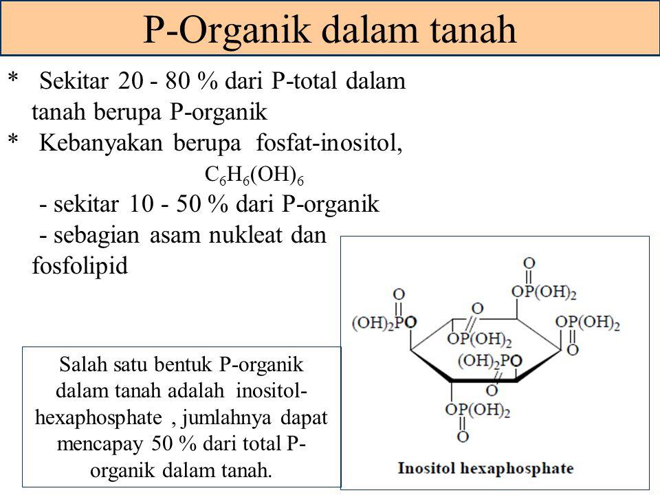 P-Organik dalam tanah * Sekitar 20 - 80 % dari P-total dalam tanah berupa P-organik. * Kebanyakan berupa fosfat-inositol,