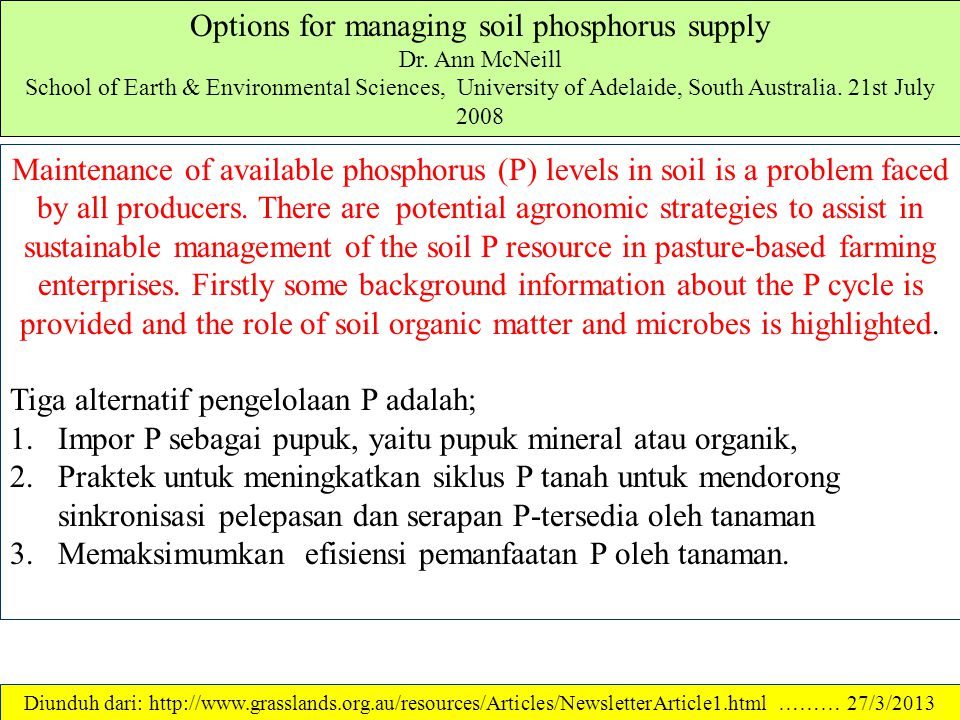 Options for managing soil phosphorus supply