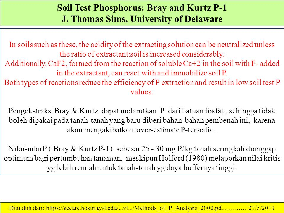 Soil Test Phosphorus: Bray and Kurtz P-1