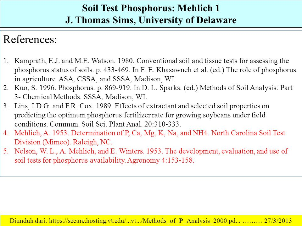 Soil Test Phosphorus: Mehlich 1 J. Thomas Sims, University of Delaware
