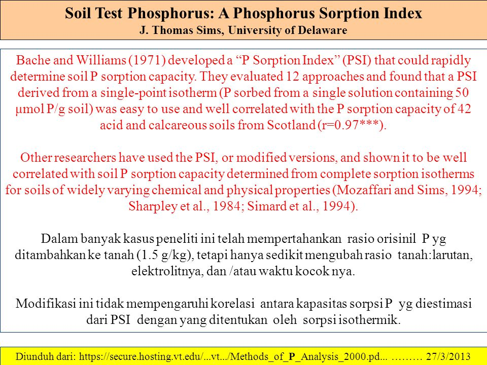 Soil Test Phosphorus: A Phosphorus Sorption Index