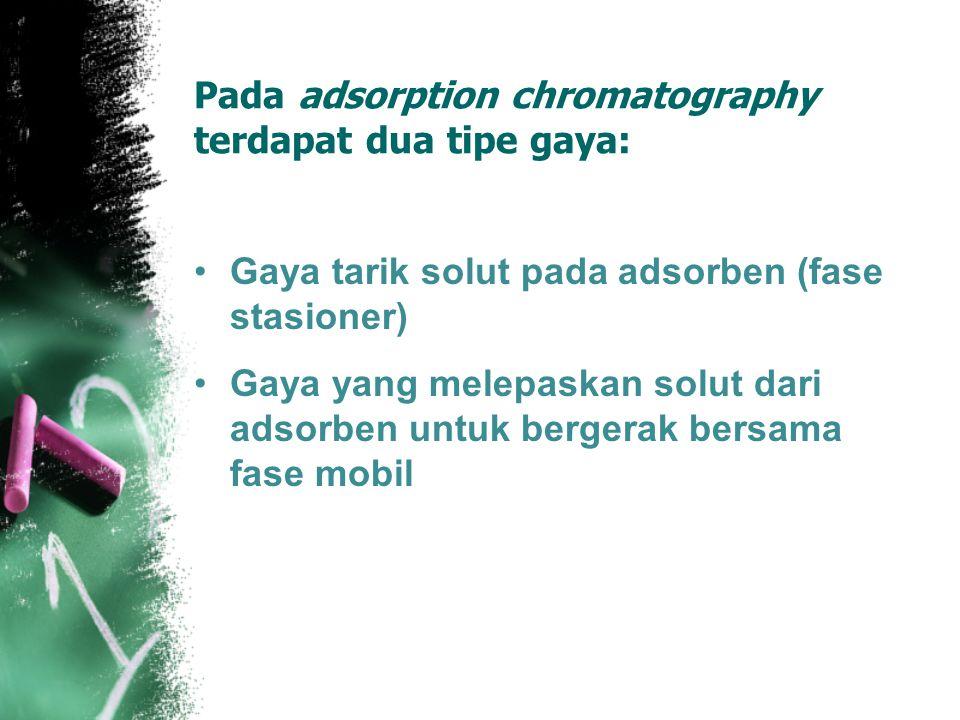 Pada adsorption chromatography terdapat dua tipe gaya: