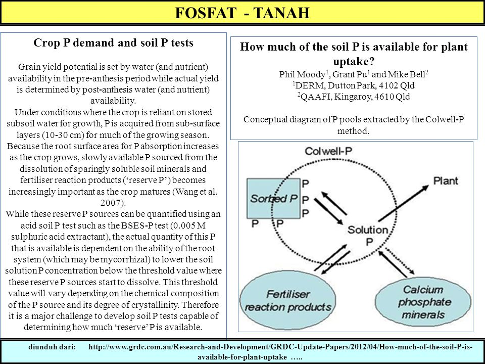 FOSFAT - TANAH Crop P demand and soil P tests