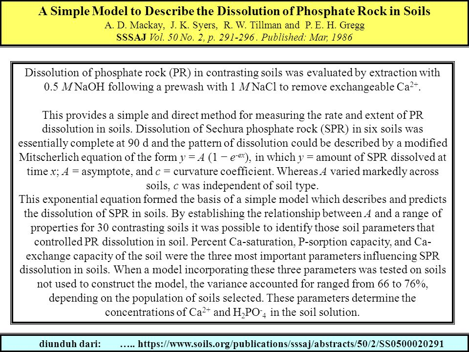 A Simple Model to Describe the Dissolution of Phosphate Rock in Soils