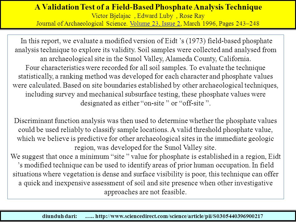 A Validation Test of a Field-Based Phosphate Analysis Technique