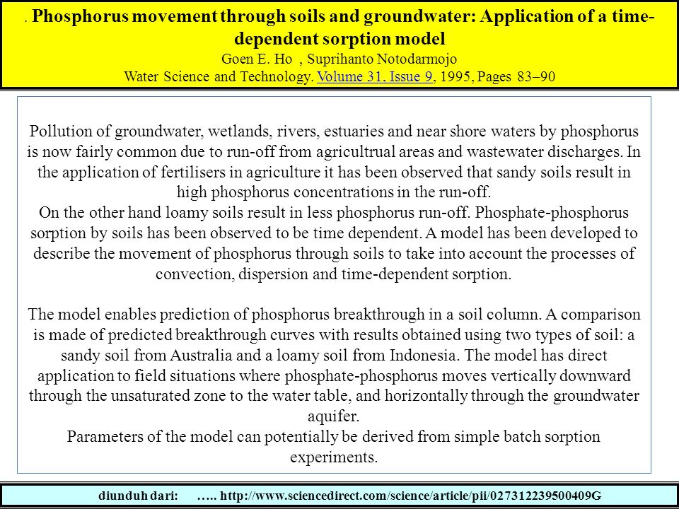 . Phosphorus movement through soils and groundwater: Application of a time-dependent sorption model