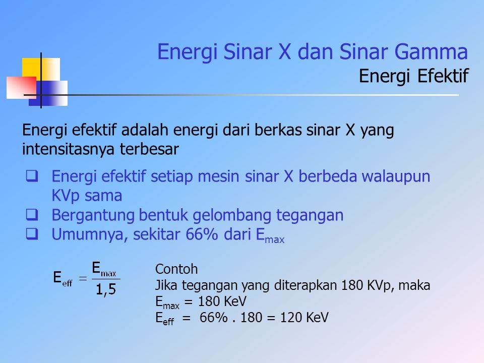 Energi Sinar X dan Sinar Gamma Energi Efektif