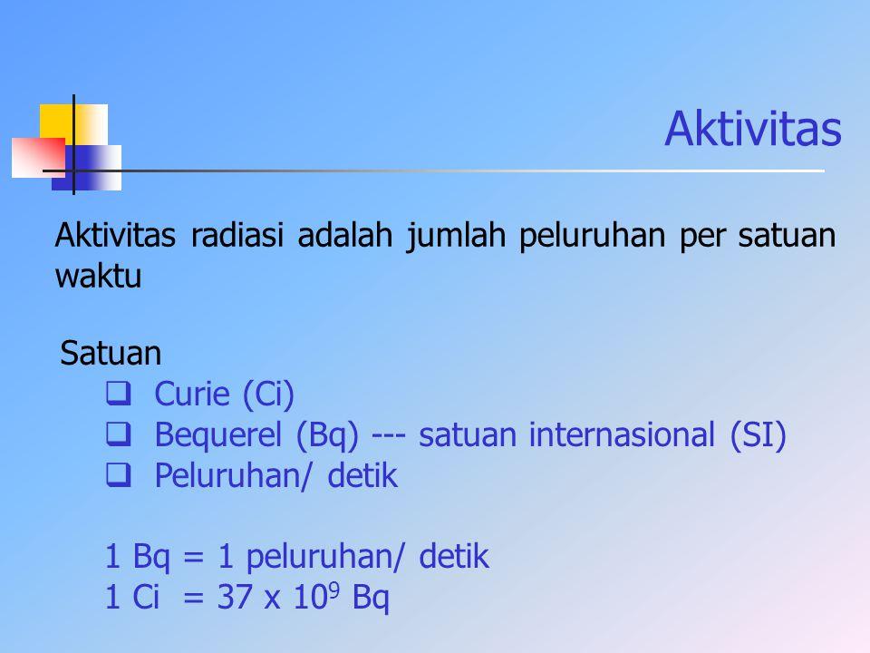 Aktivitas Aktivitas radiasi adalah jumlah peluruhan per satuan waktu