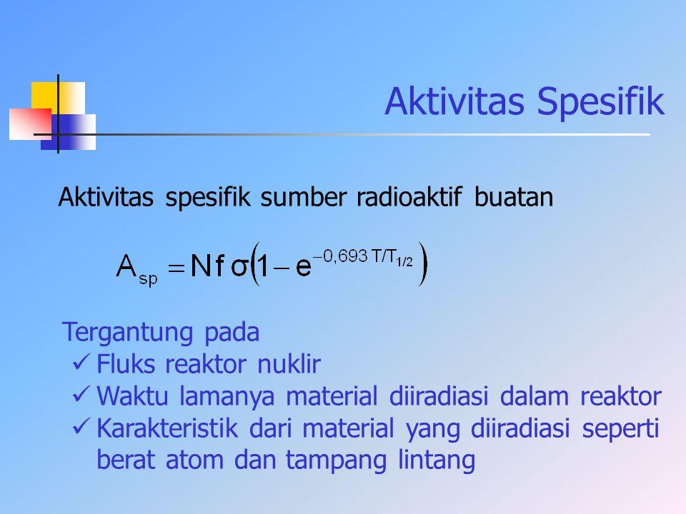 Aktivitas Spesifik Aktivitas spesifik sumber radioaktif buatan