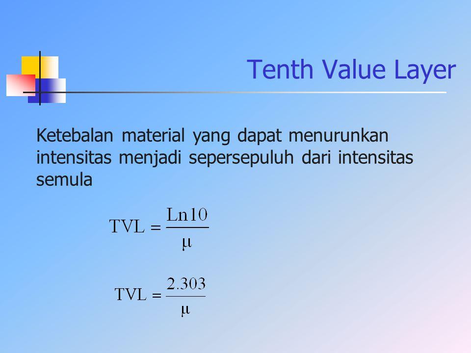 Tenth Value Layer Ketebalan material yang dapat menurunkan intensitas menjadi sepersepuluh dari intensitas semula.