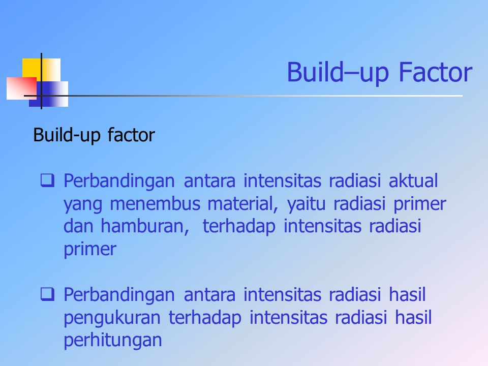 Build–up Factor Build-up factor