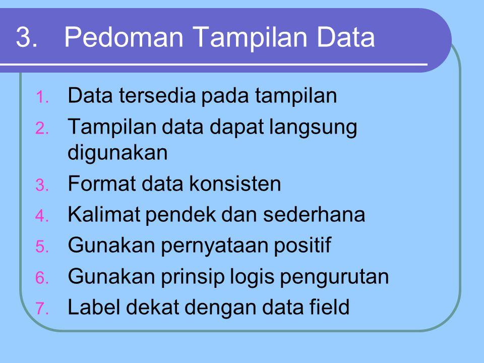3. Pedoman Tampilan Data Data tersedia pada tampilan