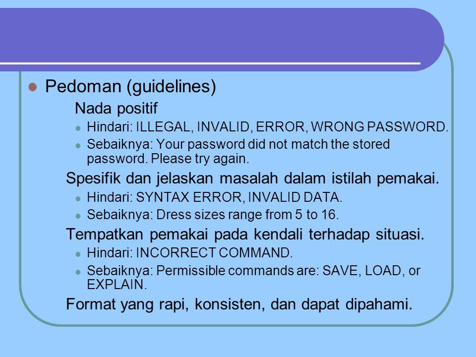 Pedoman (guidelines) Nada positif