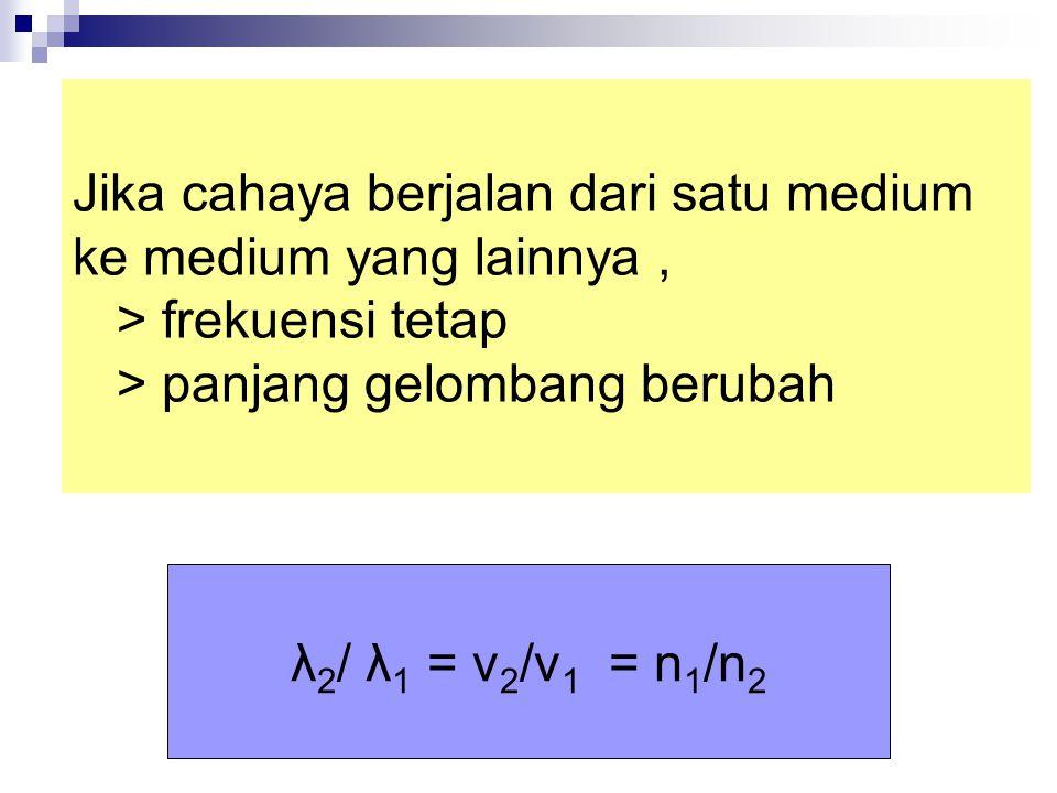 Jika cahaya berjalan dari satu medium ke medium yang lainnya , > frekuensi tetap > panjang gelombang berubah