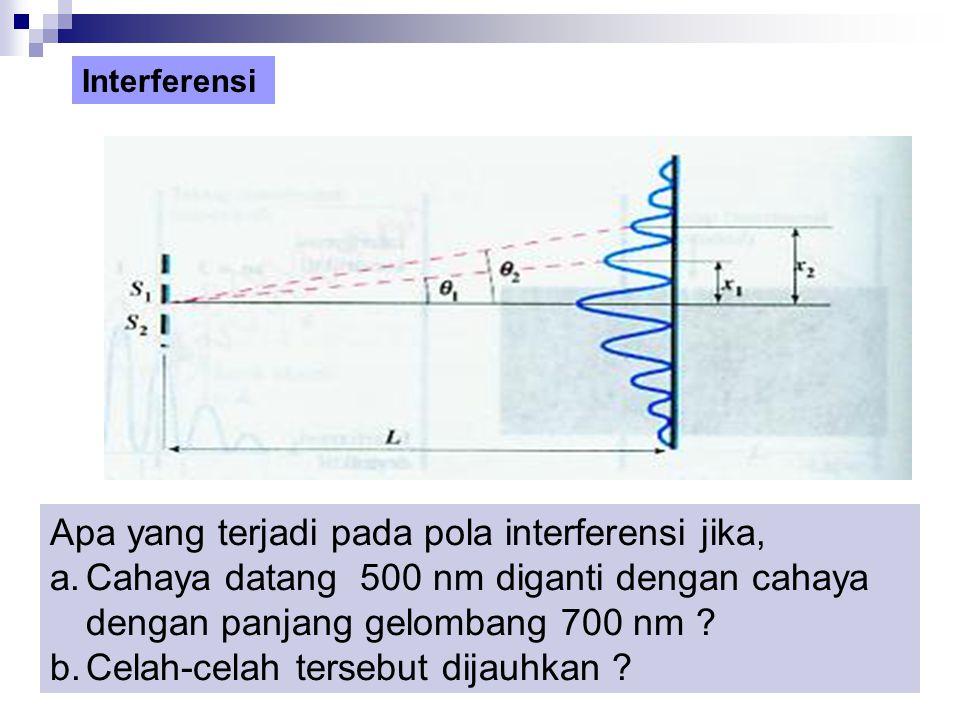 Apa yang terjadi pada pola interferensi jika,