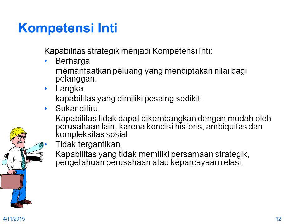Kompetensi Inti Kapabilitas strategik menjadi Kompetensi Inti: