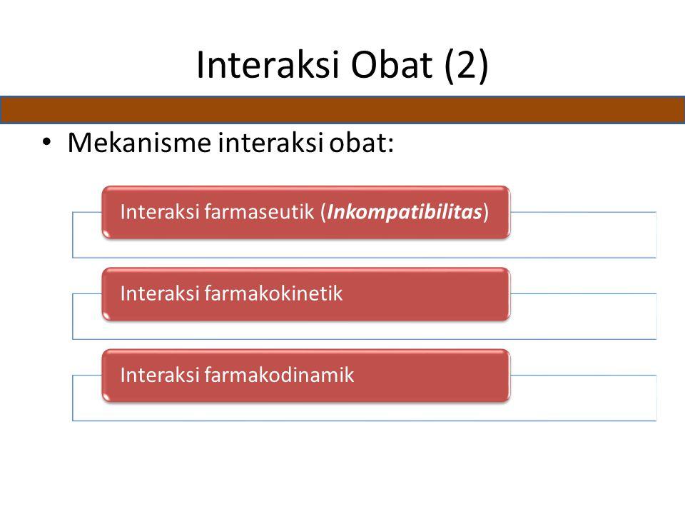 Interaksi Obat (2) Mekanisme interaksi obat: