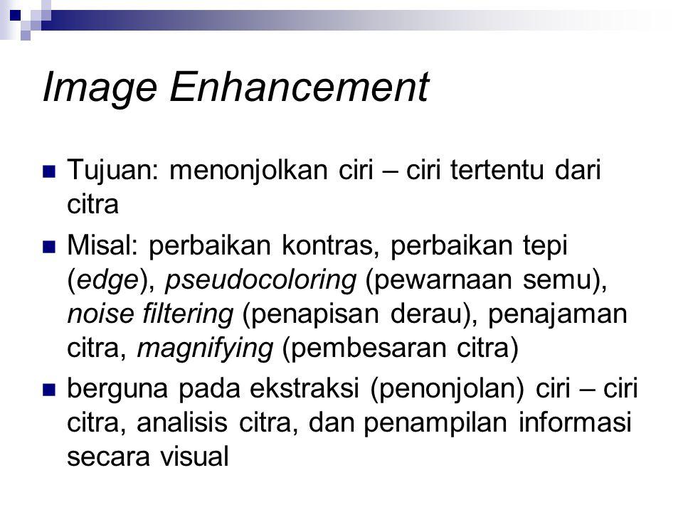 Image Enhancement Tujuan: menonjolkan ciri – ciri tertentu dari citra