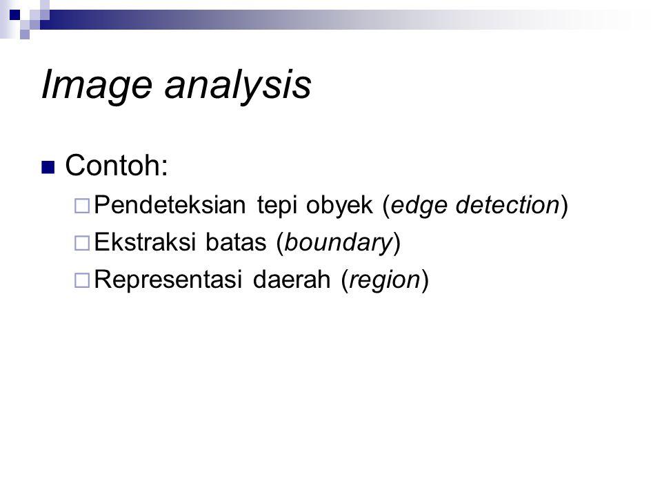 Image analysis Contoh: Pendeteksian tepi obyek (edge detection)