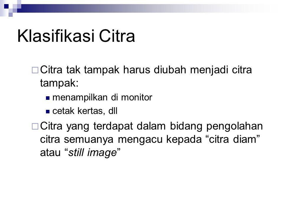 Klasifikasi Citra Citra tak tampak harus diubah menjadi citra tampak: