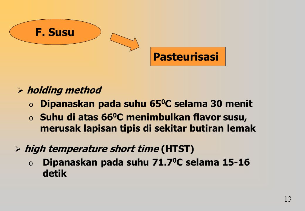 F. Susu Pasteurisasi holding method