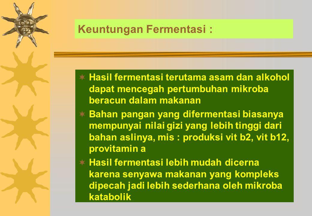 Keuntungan Fermentasi :
