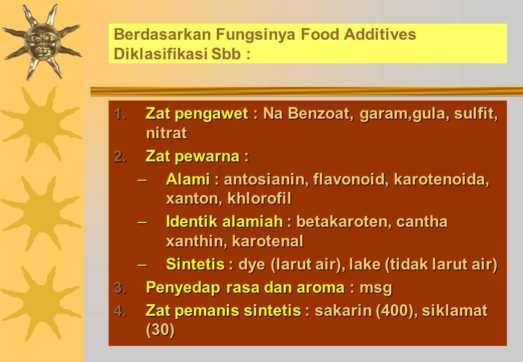 Berdasarkan Fungsinya Food Additives Diklasifikasi Sbb :