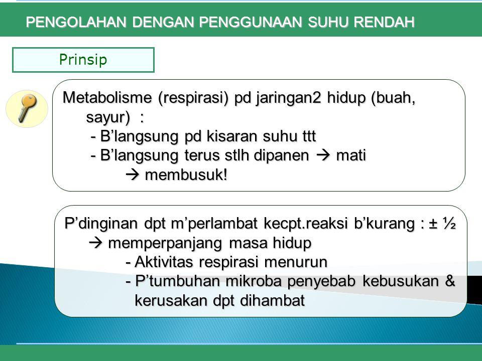 Metabolisme (respirasi) pd jaringan2 hidup (buah, sayur) :